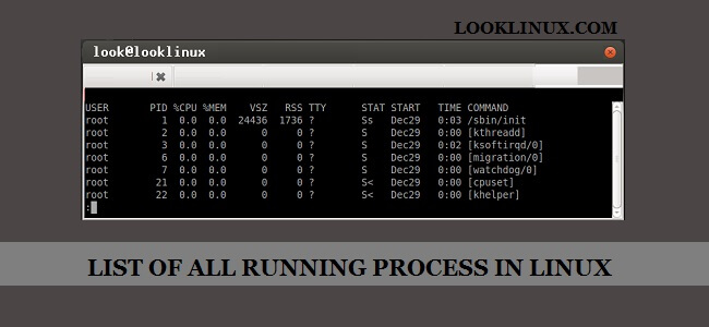 List of all running process in Linux