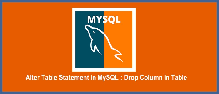 Alter Table Statement In Mysql How To Drop Column In Table